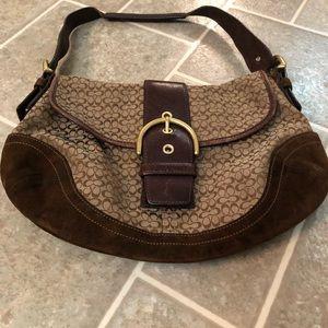Brown fabric COACH shoulder bag
